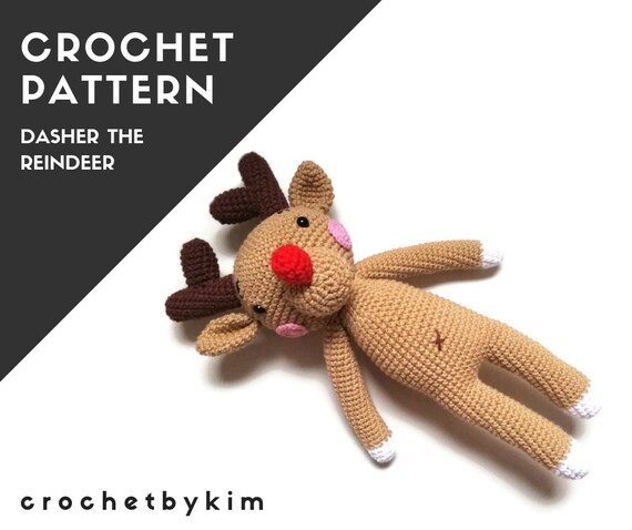 CROCHET PATTERN - amigurumi deer - reindeer - woodland - forest animal - dasher the reindeer - christmas - crochetbykim