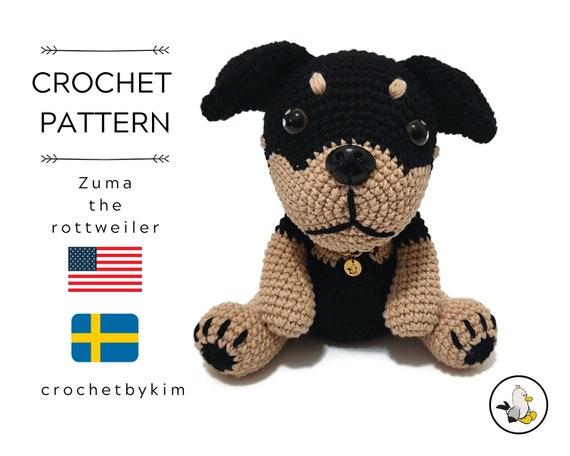 AMIGURUMI CROCHET PATTERN • Rottweiler • Amigurumi dog • Zuma the Rottweiler • Puppy Crochet • Easy pattern • Rottweiler crochet pattern