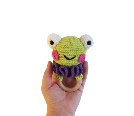 READY TO SHIP - handmade crochet - frog teething rattle wooden ring - baby toy newborn
