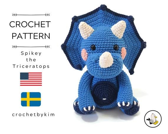 AMIGURUMI CROCHET PATTERN • Spikey the Triceratops • Amigurumi pattern •  Jurassic World • Dino toy • Dinosaur animal • CrochetByKim • pdf