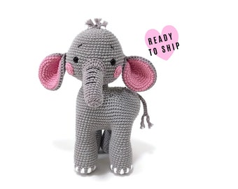 Handmade Crochet amigurumi elephant • Bumpy the elephant • Large amigurumi • safari toy • cotton animal • swedish design • crochetbykim