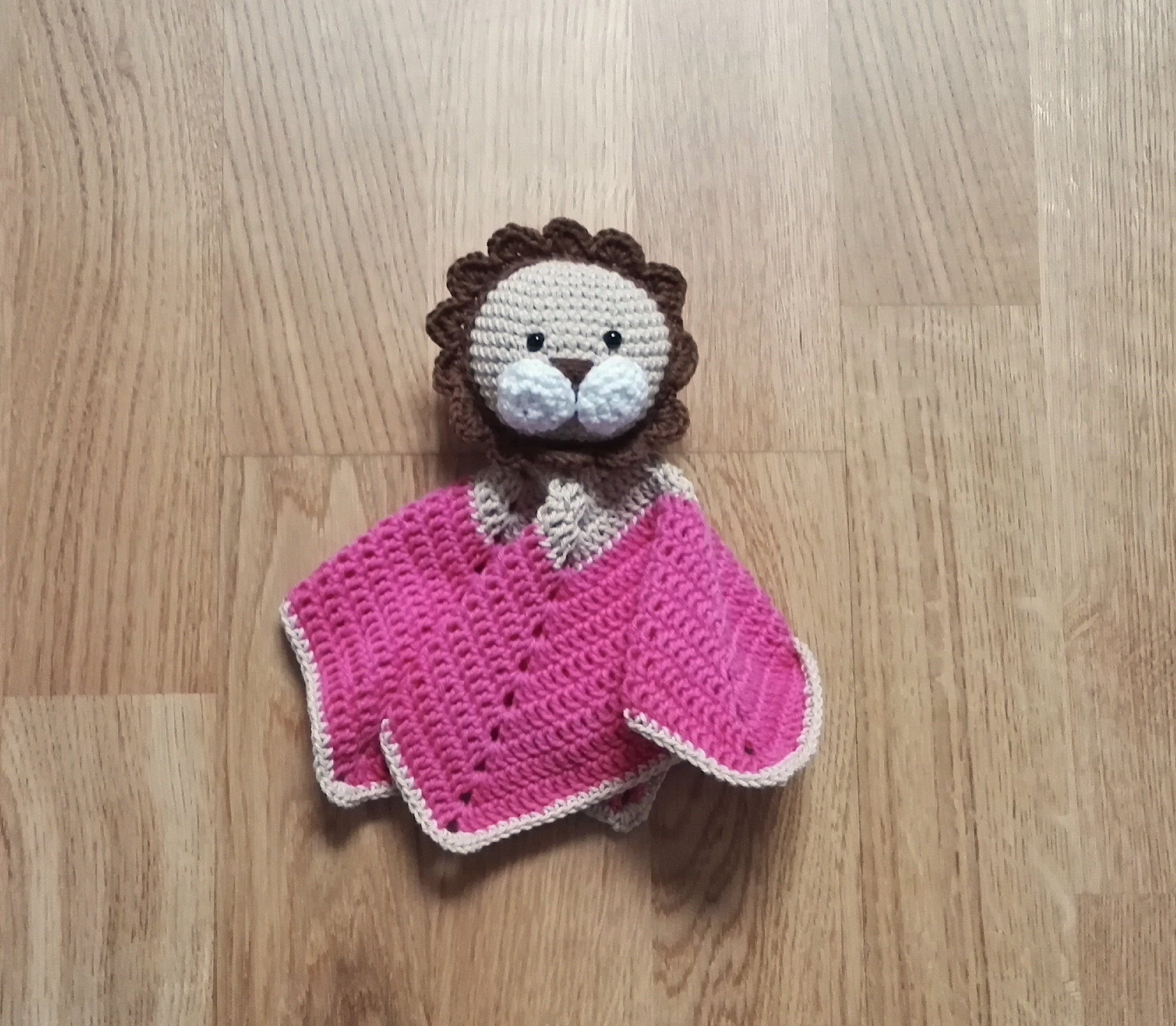 Crochet Security Blanket Lion Lovey Toddler Toy Snuggle