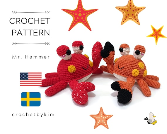 AMIGURUMI CROCHET PATTERN • Mr. Hammer Crab • Sea amigurumi • Kawaii Crab • Sea animals Fish Ocean • CrochetByKim • pdf pattern