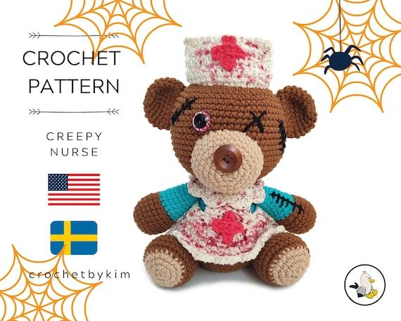 AMIGURUMI CROCHET PATTERN • Creepy Nurse Teddybear Halloween • Halloween amigurumi • Spooky toys • Halloween pattern • CrochetByKim •