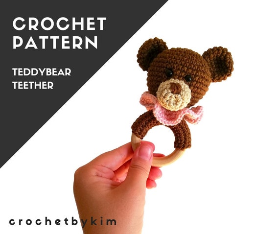 Crochet pattern - teether - teddy bear - wooden ring - rattle - amigurumi - baby toy - baby shower