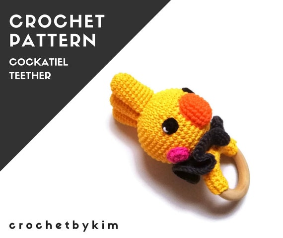 CROCHET PATTERN - cockatiel rattle - teether -  teething ring - australien bird - amigurumi bird - aussie toy  - crochetbykim
