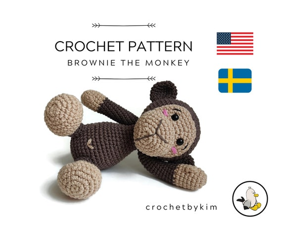 CROCHET PATTERN - Brownie the monkey - amigurumi monkey - chimpanzee - jocko - safari animals - jungle - zoo - monkey toy - diy - pdf