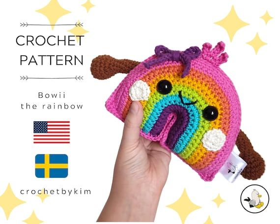 AMIGURUMI CROCHET PATTERN • Amigurumi Rainbow • Bowii the rainbow • Kawaii • Rainbow pattern • Regenboog • Regnbåge • CrochetByKim