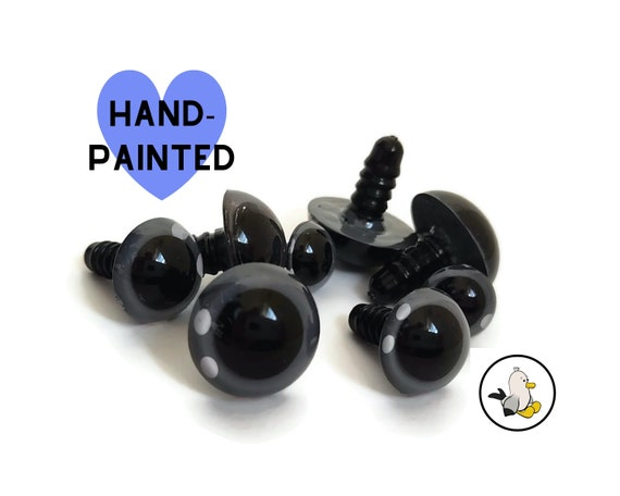 GRAY Hand Painted Eyes 12 mm 15 mm 18 mm 20 mm • Safety eyes • Amigurumi Eyes • Toy Eyes • Plastic Eyes • Doll Eyes • Crochet Knit Sew •