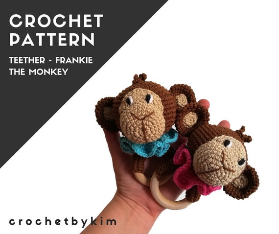 CROCHET PATTERN - amigurumi monkey  - frankie the monkey teether - teethering - rattle - safari animals - jungle - zoo - diy - pdf