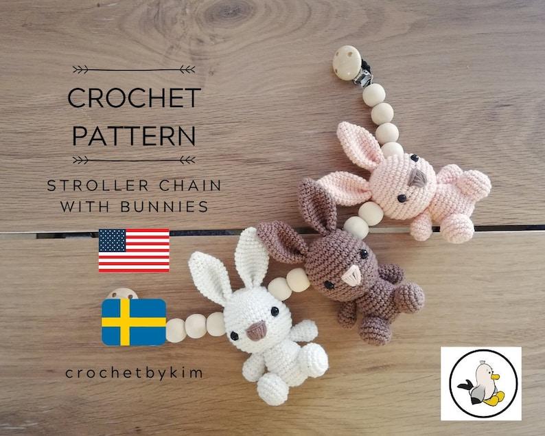 CROCHET PATTERN  stroller chain bunnies   amigurumi bunny  image 1
