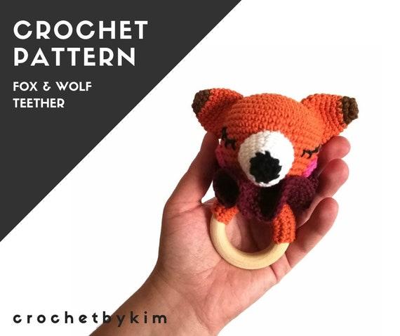 CROCHET PATTERN - amigurumi wolf fox - teether - teethering - rattle - wooden ring - woodland animals - newborn - download - crochetbykim
