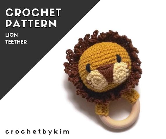 CROCHET PATTERN - lion rattle - teether -  teething ring - wooden ring - amigurumi lion - Crochet nursery toy  - crochetbykim