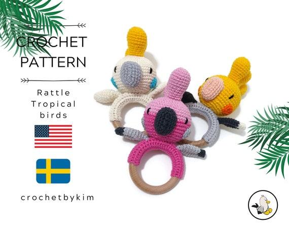 AMIGURUMI CROCHET PATTERN • Rattle • Cockatiel Cockatoo Galah birds • Tropical birds • Teether • Rattle pattern • Australia • Digital Pdf