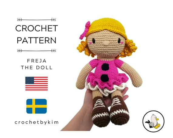 AMIGURUMI DOLL PATTERN • Freja the doll • crochet pattern • Instant Download • interior doll pattern • crochetbykim