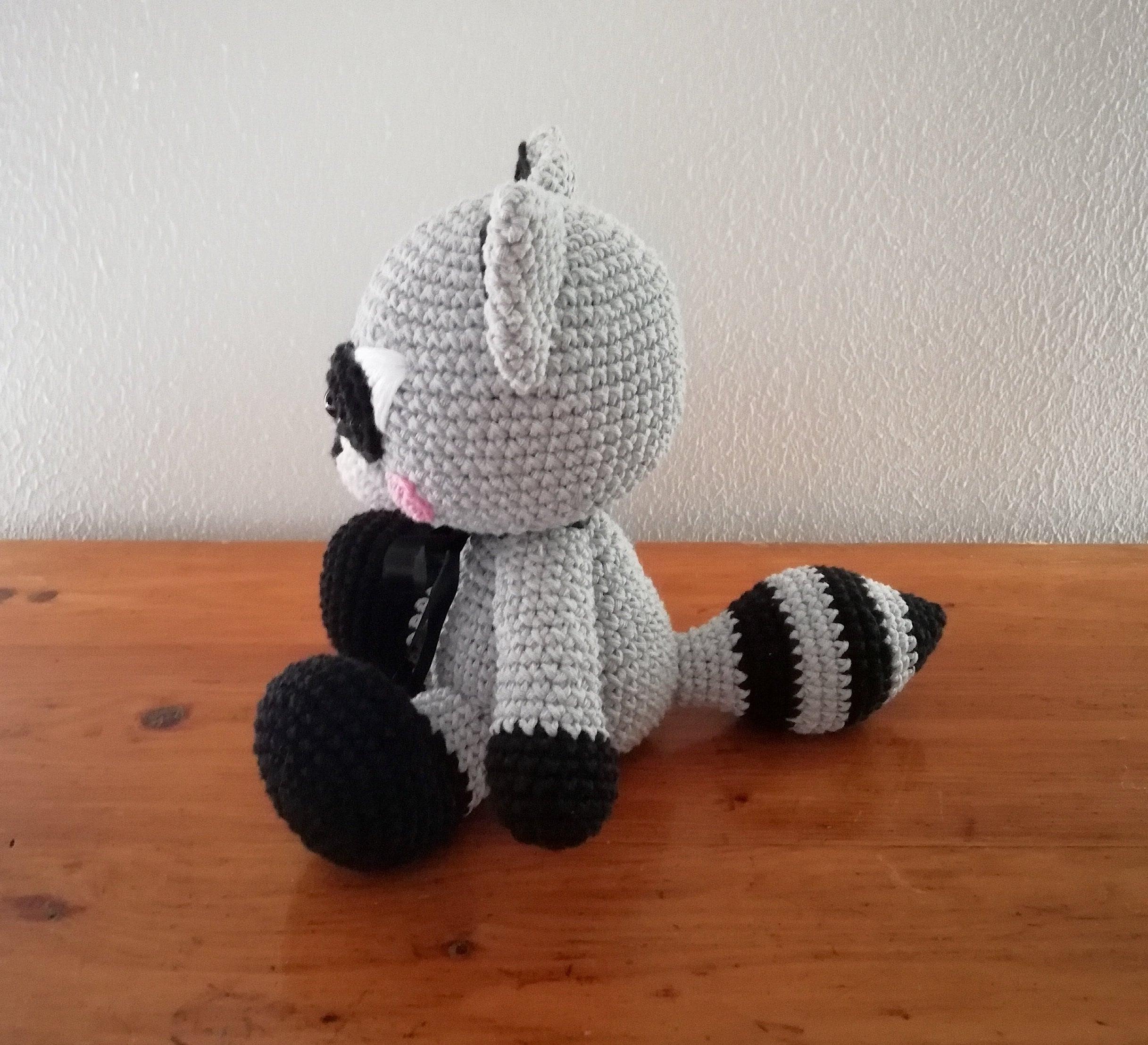 Gray Bandit Raccoon Handmade Amigurumi Stuffed Toy Knit Crochet ... | 2215x2434