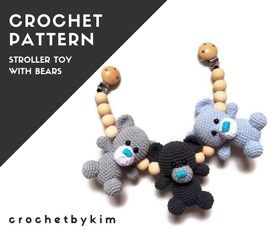 CROCHET PATTERN - stroller chain teddy bear  - amigurumi - stroller mobile - pram chain - baby toy - garland - kinderwagenkette - pdf