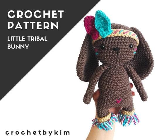 CROCHET PATTERN - little tribal bunny - amigurumi bunny - woodland animal - native american - crochet bunny - stuffed bunny