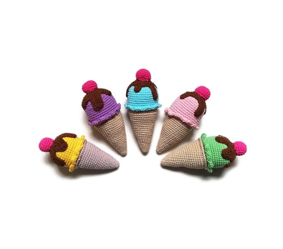 Crochet amigurumi ice-cream cone - Crochet food - Educational toys - Pretend food - Kids party - playfood - Crochet sweets - READY TO SHIP