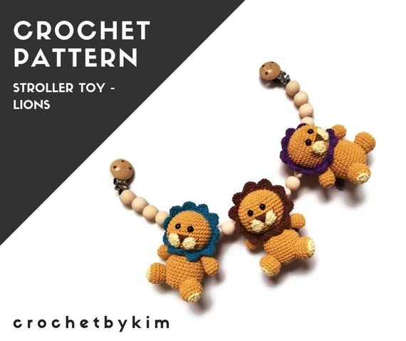 CROCHET PATTERN - stroller chain lion  - amigurumi - stroller mobile - pram chain - baby toy - garland - kinderwagenkette - pdf