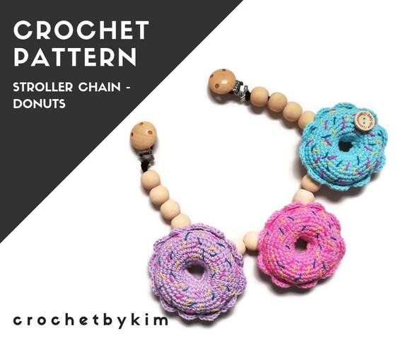 CROCHET PATTERN - stroller chain - donuts - playfood - kinderwagenkette  - stroller mobile - pram chain - baby toy - pdf