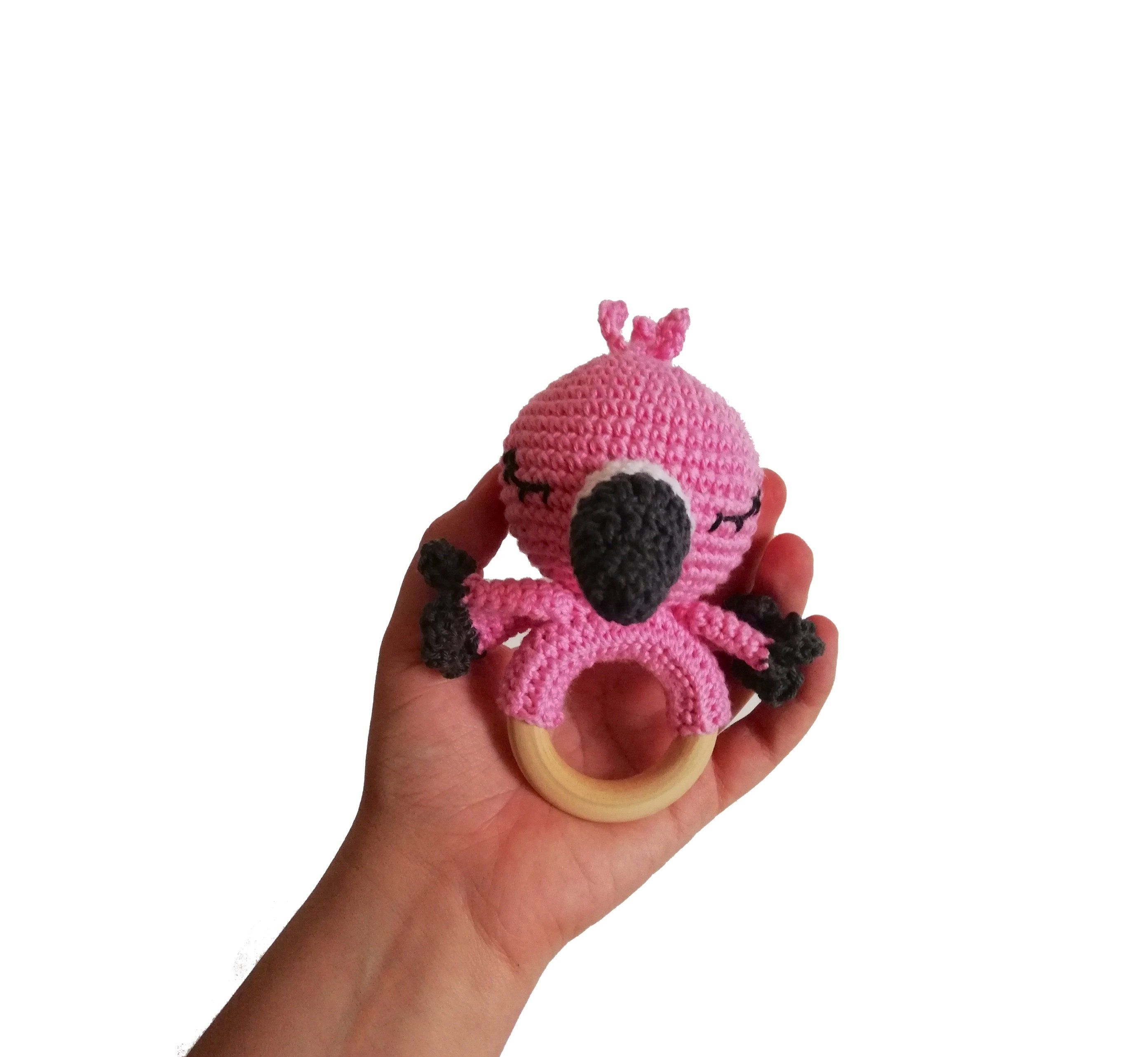 Crochet Pattern Amigurumi Flamingo Teether Teethering Rattle