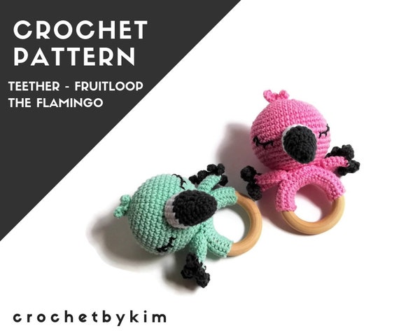 CROCHET PATTERN - amigurumi flamingo - teether - teethering - rattle - wooden ring - australian bird - newborn - download - crochetbykim