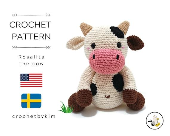 AMIGURUMI CROCHET PATTERN • Rosalita the cow • Amigurumi pattern • Farm animal • Cow toy pattern • Swedish animals • CrochetByKim • pdf