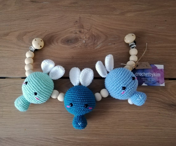 Handmade crochet stroller chain - amigurumi bunny - pram mobile - garland - baby toy - toddler - bunny - wooden beads - READY TO SHIP