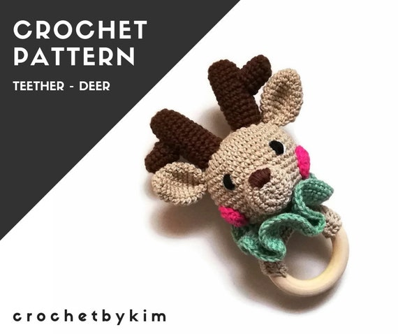 CROCHET PATTERN - amigurumi deer  - sweety the deer teether - teethering - rattle - animals - woodland - diy - pdf