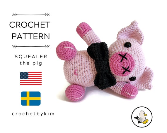 AMIGURUMI CROCHET PATTERN • Amigurumi Pig • Squealer the pig • Farm animals • hog • pink amigurumi • piggy • piglet • easy pattern • pdf
