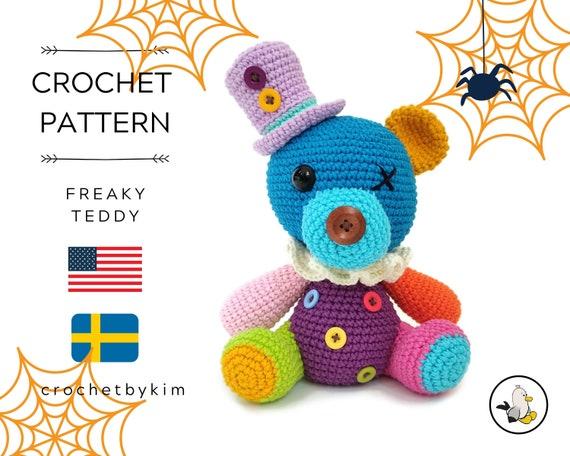 AMIGURUMI CROCHET PATTERN • Freaky Teddybear Halloween • Halloween amigurumi • Spooky toys • Halloween pattern • CrochetByKim • pdf pattern