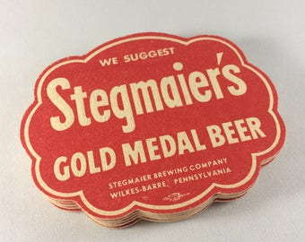 Vintage Stegmaier's Gold Medal Beer Coasters (Set of 6)