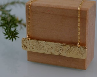 Gold Statement Necklace, Gold Dainty Necklace, Textured 18K Gold Bar Necklace, Minimalist Gold Pendant, 18K Gold Plated Layering Necklace