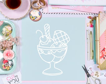 Sundae SVG Digital Cut File SET perfect for all Paper crafting, Scrapbooking, Card making, Home Decor projects.
