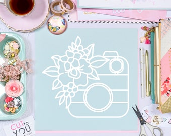 Floral Camera SVG Digital Cut File perfect for all Scrapbooking, Card making, Home Decor and Vinyl projects with Cricut or Silhouette.