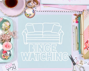 Binge Watching Couch SVG Digital Cut File perfect for all Paper crafting, Scrapbooking, Card making, Home Decor projects.