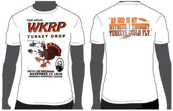 Trending Now, WKRP Turkey Drop T shirt, Thanksgiving, sale,xmas, christmas,  unisex shirt vintage, funny tshirt, Turkey  gift, clothing