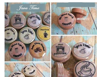 Coffee Shop Themed Knobs, Barista Mocha Espresso Java, Cabinet and Drawer Pulls for the Kitchen or Break Room