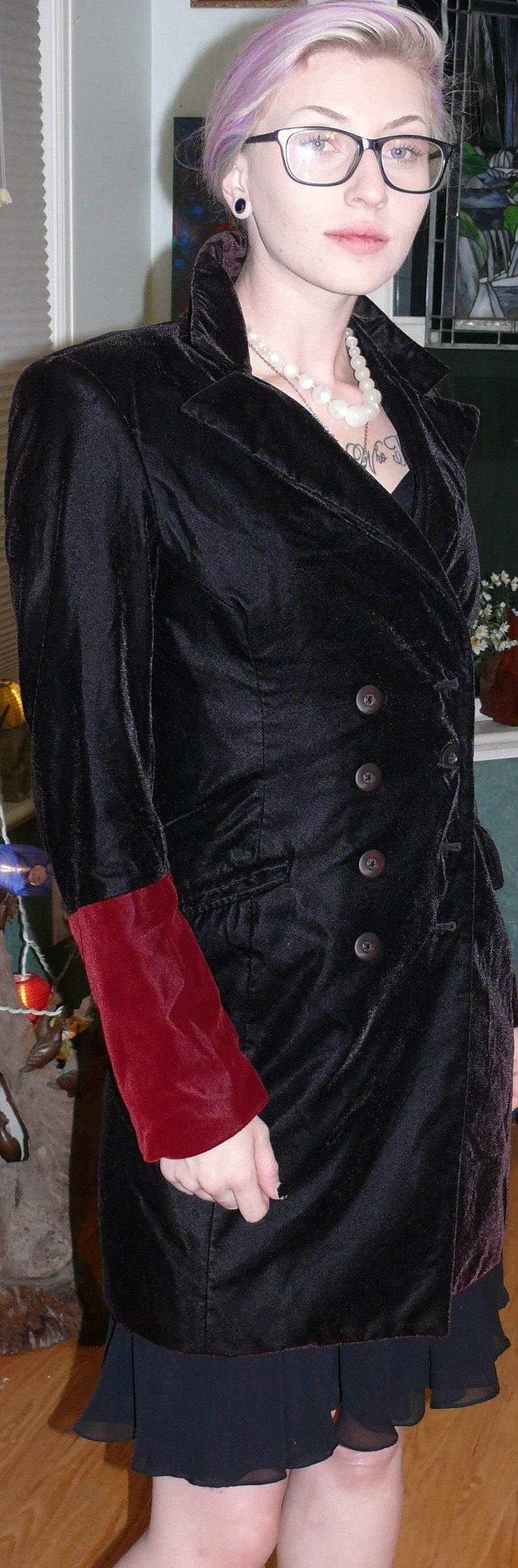 Black and red velvet double breasted blazer Bisou Bisou