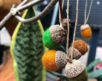Autumnal felted acorns, handmade with love and care