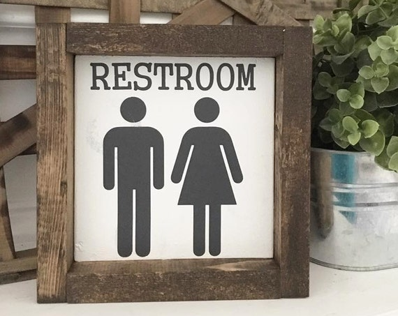 ORIGINAL Restroom Sign, Bathroom Sign, Painted Sign, Farmhouse Style Decor, Type Font, Wood Sign, Rustic Decor, Wood Frame