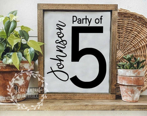 FREE SHIPPING |Framed Personalized Name Sign | Party Of Sign | Name Sign | Gallery Wall Decor | Family Wood Sign | Farmhouse Dec