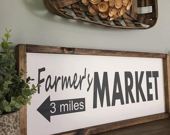 24X11 | Farmers Market |  Rustic Sign | Fixer Upper Style | Kitchen Decor | Farmhouse Style Decor | Arrow | Gallery Wall