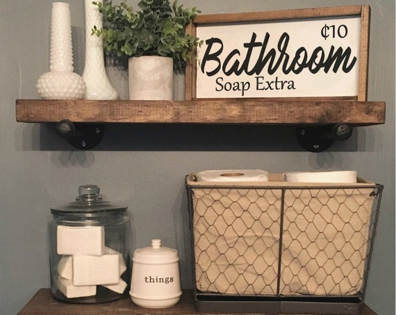 Bathroom Sign, Wood Frame Sign, Custom Home Decor, Farmhouse Style Decor, Rustic Decor
