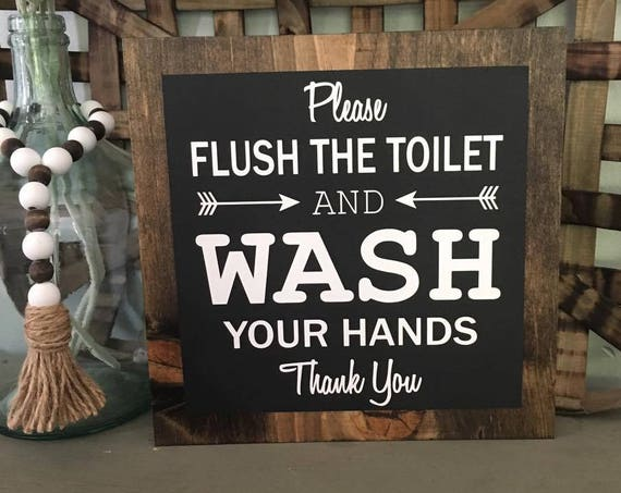 Faux Frame, Please Flush The Toilet, Bathroom Sign, Farmhouse Decor, Wood Sign