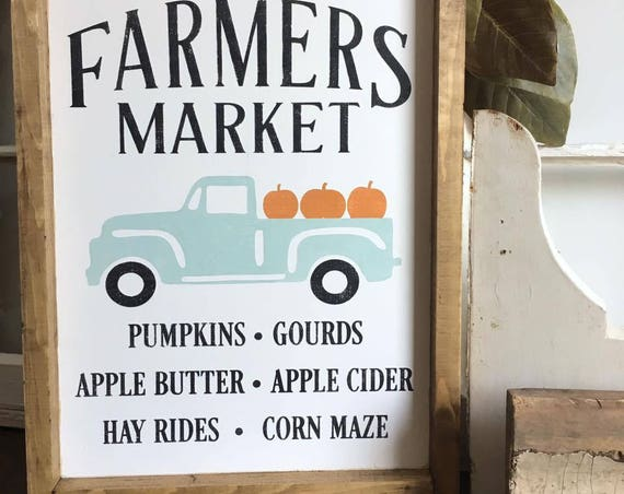Farmers Market Sign, Vintage Truck, Fall Decor, Gallery Wall