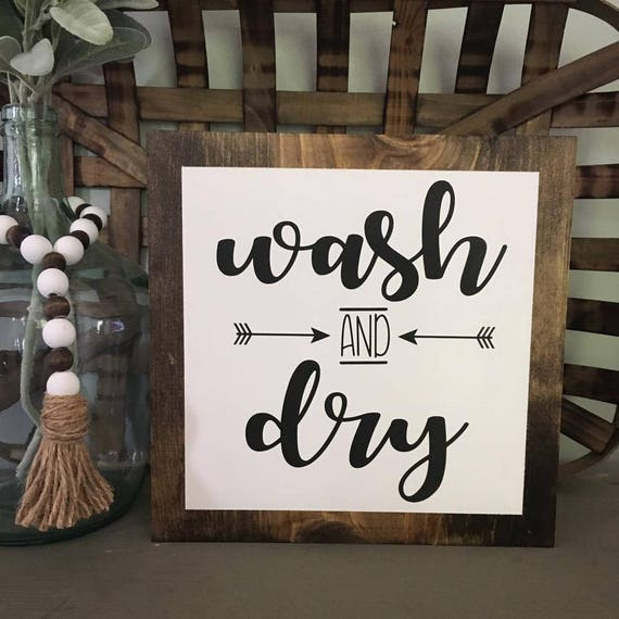Faux Frame, Wash and Dry, Laundry Room Sign, Farmhouse Decor, Wood Sign