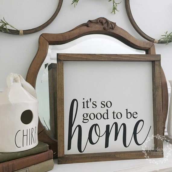 13X13 | So Good to be Home Sign | Wood Framed Sign | Rustic Decor | Farmhouse Style Decor | Handwritten Font | Gallery Wall