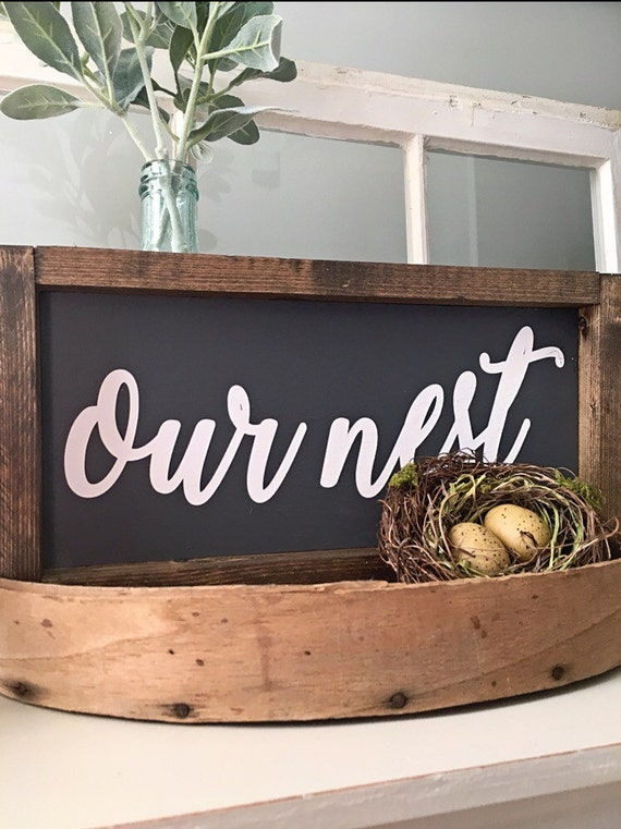 Our Nest Sign, Custom Home Decor, Farmhouse Style Decor, Handwritten Font
